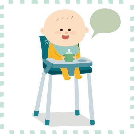 Leuke baby jongen op een hoge stoel vector illustratie. Stockfoto - 74218283