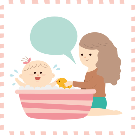 Artistic cute baby girl in a tub vector illustration.