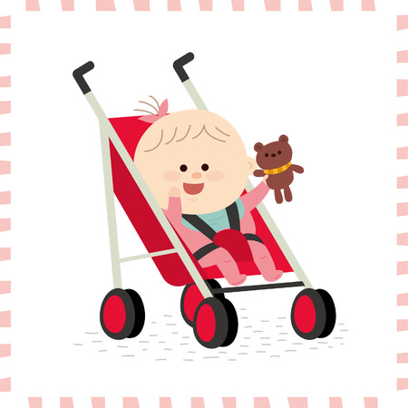 Cute baby girl vector illustration. Illustration