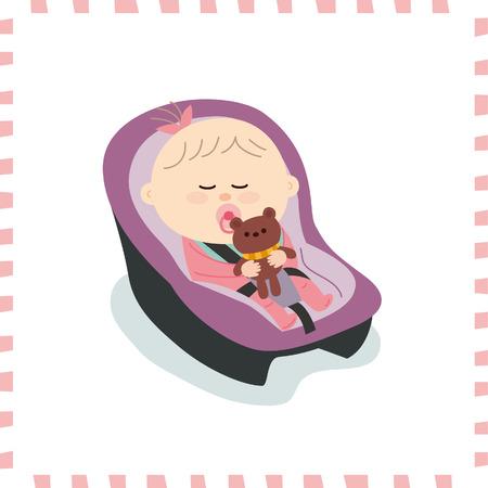 Cute baby girl vector illustration. Illustration