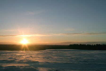 Las minits of sun. Big field coverd with snow. Cold weather Stock Photo - 754940