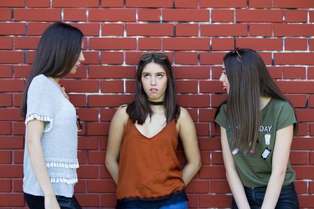 brawl: girl cant listening friends problem Stock Photo