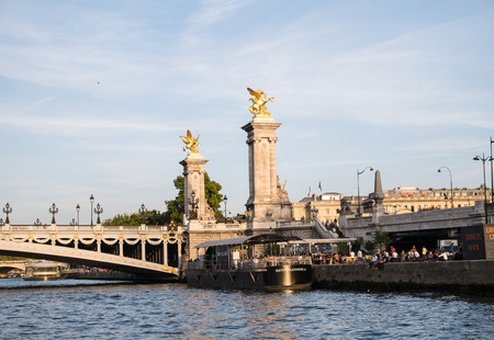 alexandre: Bistrot built on a barge anchored near the Pont Alexandre III in Paris, France