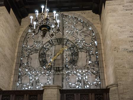 tribune: Gilded clock in Tribune Building on Michigan Avenue Chicago Illinois