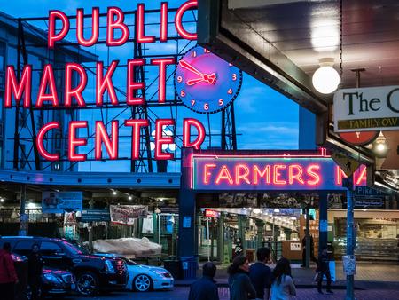public market sign: Neon signs including Public Market Center and Farmers Market, Seattle, Washington Editorial
