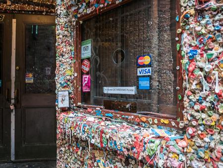 public market sign: No gum on windows sign in box office window near gum wall, Seattle