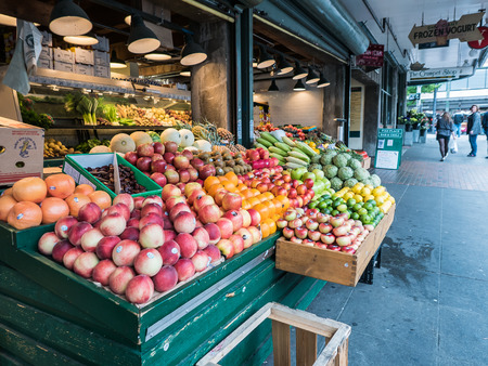 pike place: Fruit and vegetable counter at Pike Place Public Market Seattle Editorial