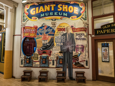 pike place: Wall mural for Giant Shoe Museum at Pike Place Public Market SEattle