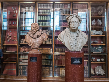 busts: London, England, August 21, 2015: Busts of Martin Folkes and Sir Robert Bruce Cotton in British Museum library