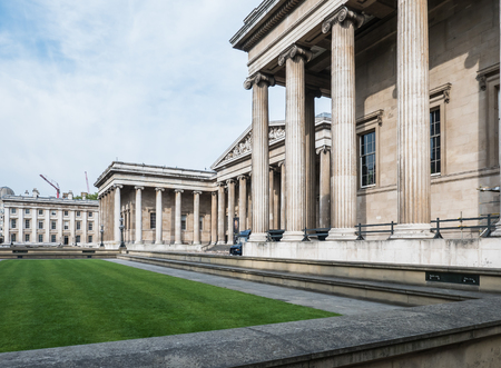 british museum: London, England, August 23, 2015: Exterior of British Museum at opening hour