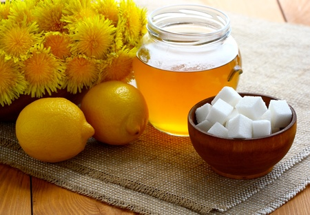 jam of dandelion (dandelion honey) and components for it`s preparation.
