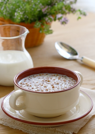 A bowl of buckwheat porridge and milk on a wooden table Stock Photo - 14494277