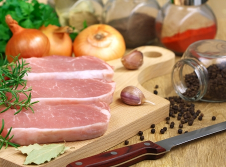 carbonate: Pork carbonate on a wooden kitchen table Stock Photo