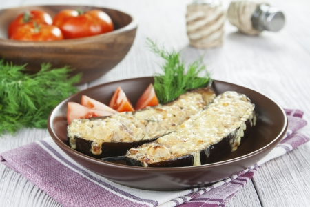 Eggplant baked with meat and cheese on the table Stock Photo - 21808107