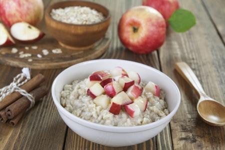 porridge: Porridge with caramelized apples on the table