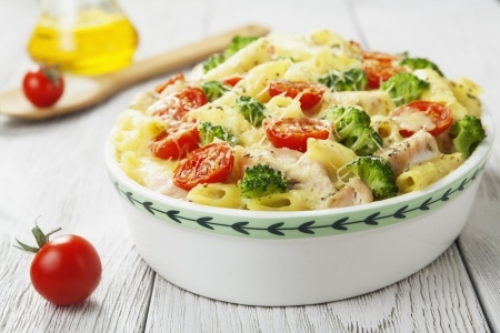 casserole: Casserole pasta with chicken and broccoli on the table Stock Photo