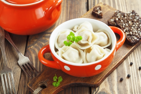 Dumplings with meat  Pelmeni russian national dish