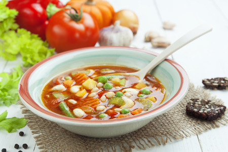 meatless: Minestrone, italian vegetable soup with pasta