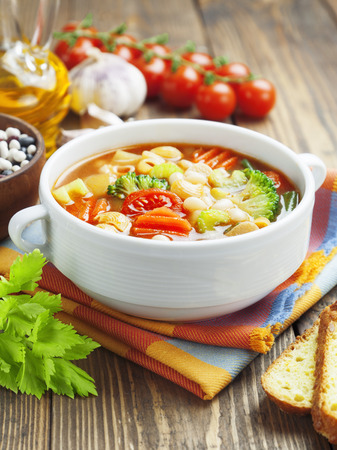 minestrone: Minestrone, italian vegetable soup with pasta