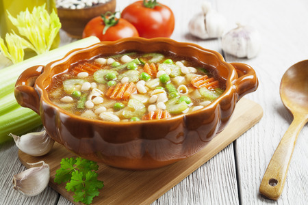 Minestrone Italian Vegetable Soup With Pasta Stock Photo Picture - Italian vegetable soup