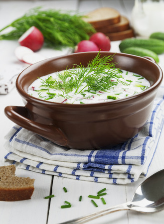 Cold summer soup with yogurt and vegetables on the table
