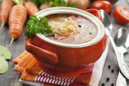 Cabbage soup with meat. Russian traditional dish
