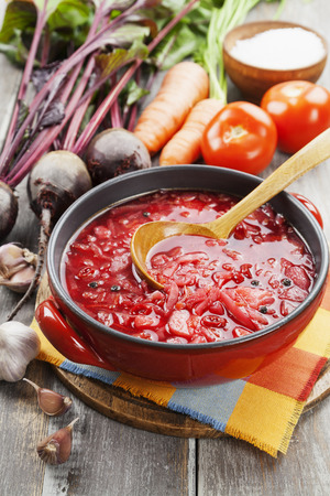 Soup with red beets. Russian traditional dish. Borsch photo