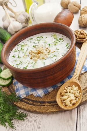 sour milk: Tarator, bulgarian sour milk soup in an orange bowl
