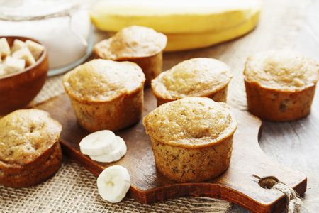 Homemade banana muffins on the wooden table Stock Photo