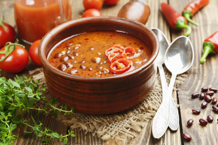 meatless: Soup with red bean and chili pepper. Mexican cuisine
