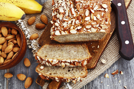 banana bread: Banana bread with almonds on the table