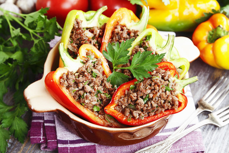 second meal: Stuffed paprika with meat on the table Stock Photo