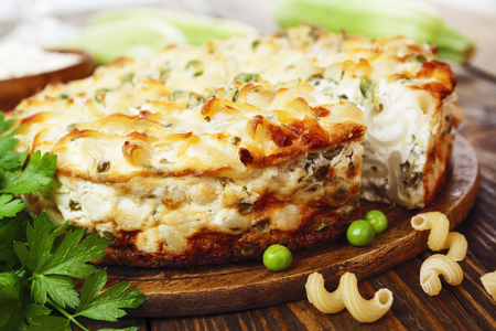 second breakfast: Casserole of pasta with green peas, zucchini and cottage cheese