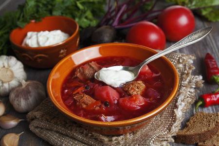 beets: Soup with red beets. Russian traditional borsch