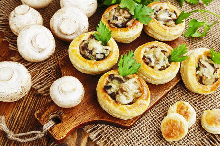 vent: Vol au vent with mushroom stuffing on the table Stock Photo