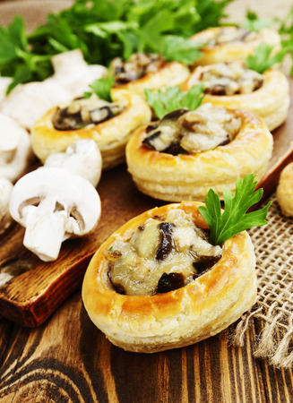 au: Vol au vent with mushroom stuffing on the table Stock Photo