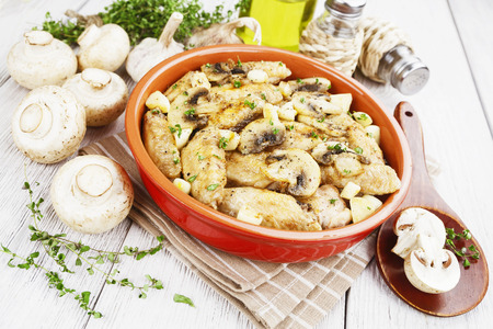 Chicken wings baked with champignons and garlic