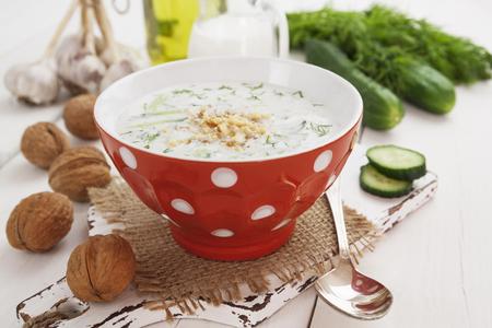 sour milk: Tarator, bulgarian sour milk soup in the bowl