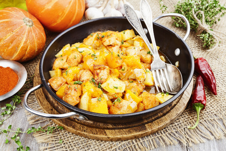 goulash: Goulash with pumpkin and turkey in frying pan