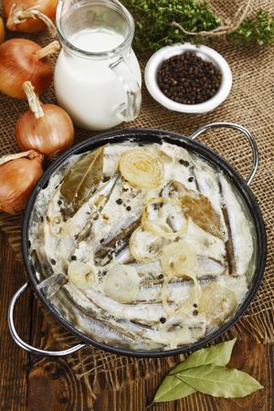 second meal: Capelin fish stewed in milk on the table