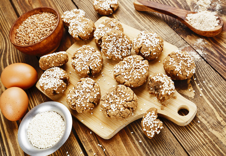 dietary: Dietary buckwheat cookies  with sesame and spices Stock Photo