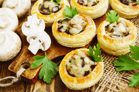 stuffing: Vol au vent with mushroom stuffing on the table Stock Photo