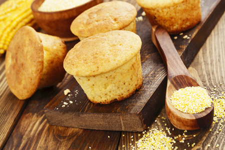 corn flour: Muffins with corn  flour on the table