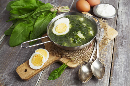 sour grass: Sorrel soup with egg on wooden table