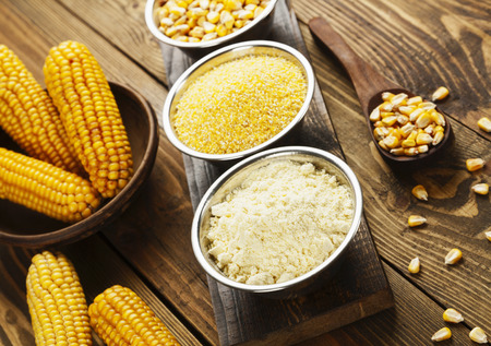 cornflour: Corn flour, cereals and grains on the table Stock Photo