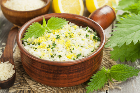 meatless: Risotto with nettles and lemon  in the ceramic pot