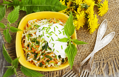 Nettle salad with cabbage and sour cream