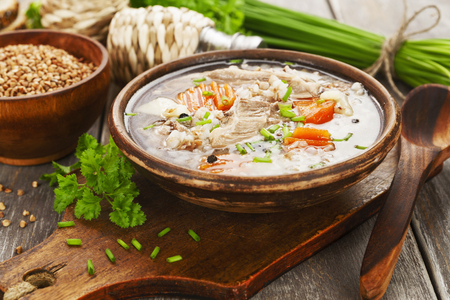 Soup with buckwheat and meat. Russian traditional dish