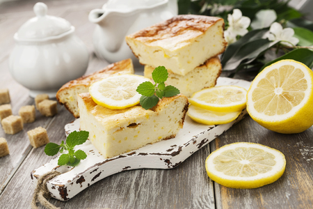 Lemon cake with cottage cheese on the table