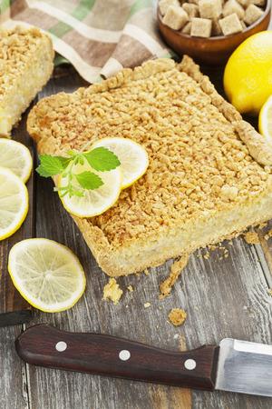 pie de limon: Delicious lemon pie with  short pastry on the table